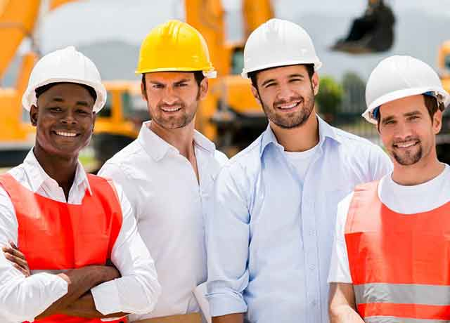 group of ethnically different workers